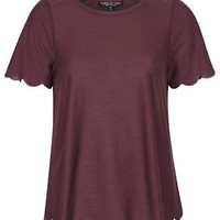 TALL Scallop Frill Tee - Berry Red