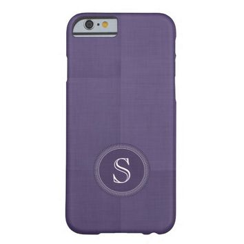 Purple Faux Linen Custom Monogram iPhone 6 Case