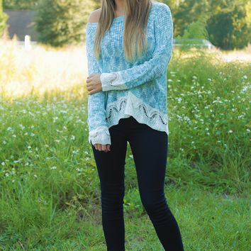 A Touch Of Color Top: Sky Blue/Ivory