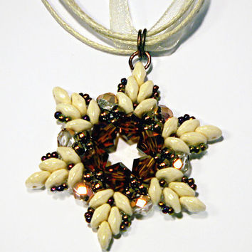 Beaded Pendant, Beadwork Pendant, Cream Elegant Pendant with Swarovski Elements