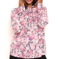 Plus Size Long Sleeve Floral Print Hoodie with High Low Hemline