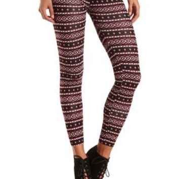 Cotton Tribal Printed Leggings by Charlotte Russe - Burgundy Cmb