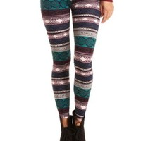 Cotton Tribal Printed Leggings by Charlotte Russe - Turquoise Combo