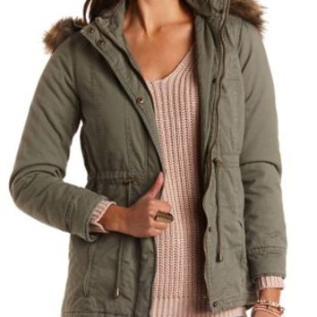 Anorak with Fur-Trimmed Hood by Charlotte Russe - Olive