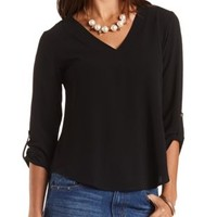 Deep V Textured Tunic Top by Charlotte Russe - Black