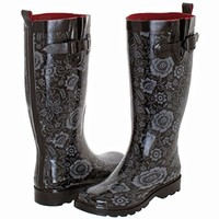 Capelli New York Ladies Shiny Ethnic Floral Printed Rain Boot