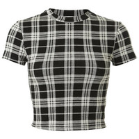 Large Check High Neck Top