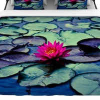 "Kess InHouse 68 by 88-Inch Ann Barnes ""Twilight"" Woven Duvet Cover, Twin, Water Lily"