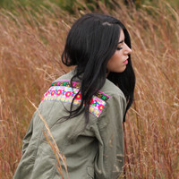 Ethnic Embroidered Army Green Jacket Boho Jacket.