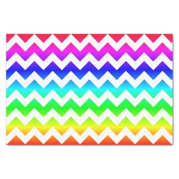 Rainbow White Chevron Tissue Paper