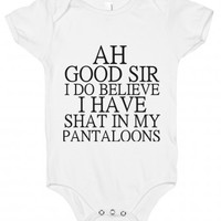 Ah Good Sir-Unisex White Baby Onesuit 00