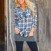 Not Your Boyfriends Flannel - Navy