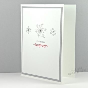 Handcrafted Grey Sparkling Snowflake Christmas Wishes Greeting Card