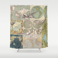 World Map Shower Curtain - Map Collage  with Vintage Airplanes - Home Decor - Bathroom - fabric, maps, travel, guy's bath wanderlust