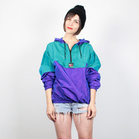Vintage 80s Surfer Jacket Purple Teal Green Windbreaker Hoodie Bomber Jacket 1980s Jacket New Wave Bright Hipster Wind Breaker S M Medium L