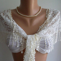 Creamy  White - Elegance  Shawl / Scarf with Lacy Edge-