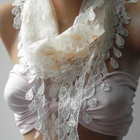 Elegance  Shawl ----- Scarf with Lacy Edge----
