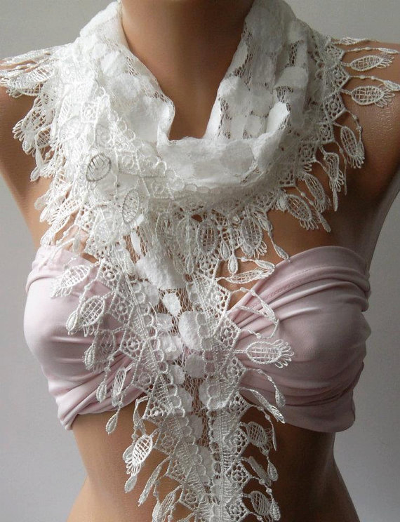 White - Elegance  Shawl / Scarf with Lacy Edge..