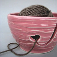 Heart Yarn Pink Knitting Bowl - Handmade Stoneware Pottery