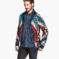 H&M - Jacquard-knit Cardigan - Dark blue - Men