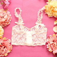 MIST / floral lace beige bustier top / Made to order