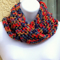 Infinity Moebius Scarf, spiral crocheted in Preppy multicolors by Jan4insight
