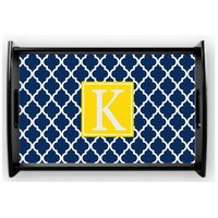 Monogrammed Quatrefoil Serving Tray