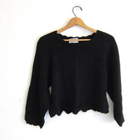 vintage cropped black sweater. cotton sweater. women's M