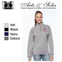 Monogrammed Personalized Navy Forest Green Oxford Grey Black Sweatshirt Quarter Zip Pullover by Arts & Soles