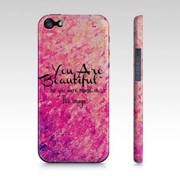 YOU ARE BEAUTIFUL Christian Art iPhone 4 4s 5 5s 5c 6 Case Hot Pink Pastel Ombre Ocean Splash God Faith Belief Religious Bible His Image