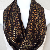 Shimmer Foil Animal Print on Silky Black Infinity Scarf Womens Fashion Accessories Girls Fall Scarves Trending Animal Print Infinity Scarves