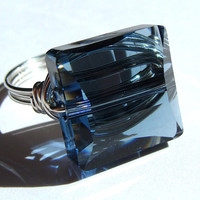 Square Denim Blue Swarovski Crystal and Sterling Silver Cocktail Ring Statement Ring