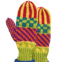 Mittens-Children's-Hand knit-Icelandic design-Seamless-Newborn, Baby, Toddler. Unique, original design, multi color washable wool. 2