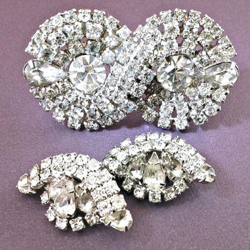 Art Deco Brooch-Earrings KRAMER of NY Rhinestone Set Clear Vintage