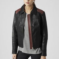 Tan Panelled Leather Jacket