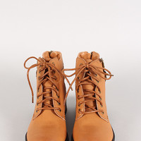 Side Buckles Cut Out Lace Up Ankle Bootie