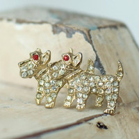 Scottie Dog Brooch or Pin Rhinestone Vintage