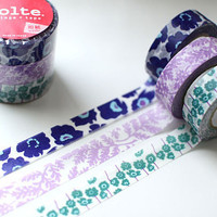 Colte Japanese Washi Masking Tape Set /// Poppy /// 3 Rolls