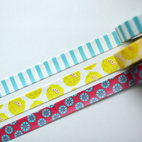 Colte Japanese Washi Masking Tape Set /// Tulip/Daisy/Stripe (Yellow)  /// 3 Rolls