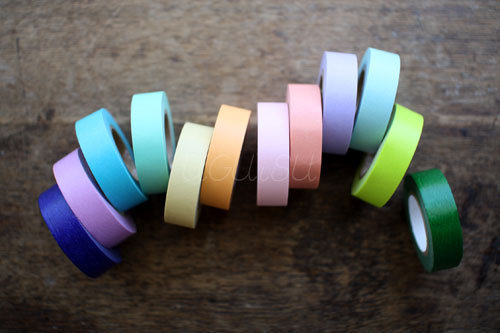 2 Rolls of Japanese Washi Masking Tape Plain Colour (Choose 2 from 21 colours)