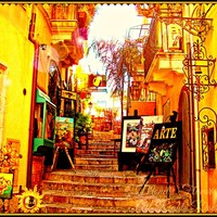 Taormina Sicily Side Street Digital Art