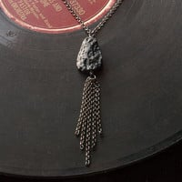 meteorite & chain tassel long necklace // simple teardrop meteorite pendant on gunmetal toned chain