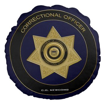 Correctional Officer Badge, Round Pillow-Gold