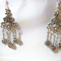 Dangle Earrings Tibetan Silver Triple Dangles