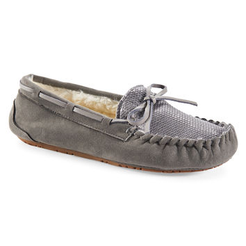Aeropostale Sequined Faux Suede Fur-Lined Moccasin - Pipe Grey,