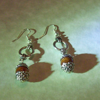 Dangle Earrings Tibetan Silver and Wood Handmade