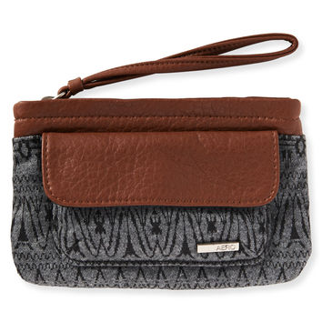 Mix Print Vegan Leather Wristlet