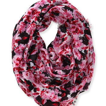 Aeropostale Watercolor Floral Infinity Scarf - Black, One
