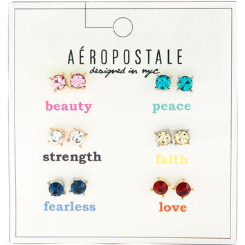 Aeropostale Inspiration Rhinestone Stud Earring 6-Pack - Multi, One