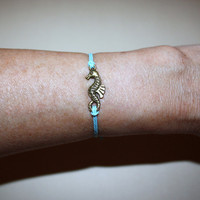 Seahorse Wish Bracelet - Antique Brass
